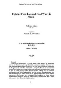 Fighting Food Loss and Food Waste in Japan